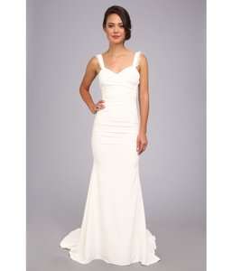 Nicole Miller White Silk Alexis Feminine Wedding Dress Size 8 (M)