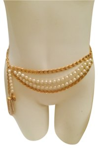 Chanel VINTAGE CHANEL PEARL AND GOLD CHAIN BELT SIZE SMALL
