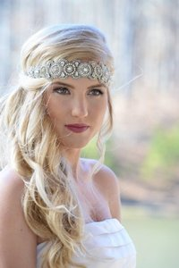 Boho Chic Flapper Or Vintage Style Lizzy Jeweled Stretch Headband