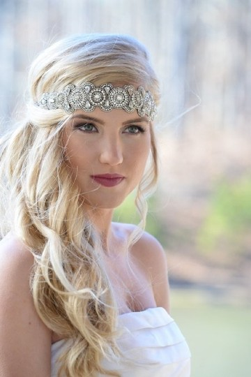 Silver / Clear Boho Chic Flapper Or Vintage Style Lizzy Stretch Headband Hair Accessories