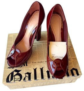 John Galliano Leather Monogram Deep Ruby Red Pumps