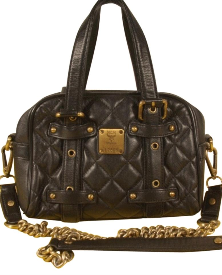 MCM Quilted Black Leather Cross Body Bag - Tradesy : leather quilted bag - Adamdwight.com