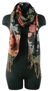 Floral Blush Print Fringe Cozy Fall Winter Pashmina Scarf Wrap