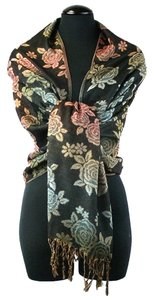 Other Floral Print Fringe Cozy Fall Winter Pashmina Silk Scarf Wrap