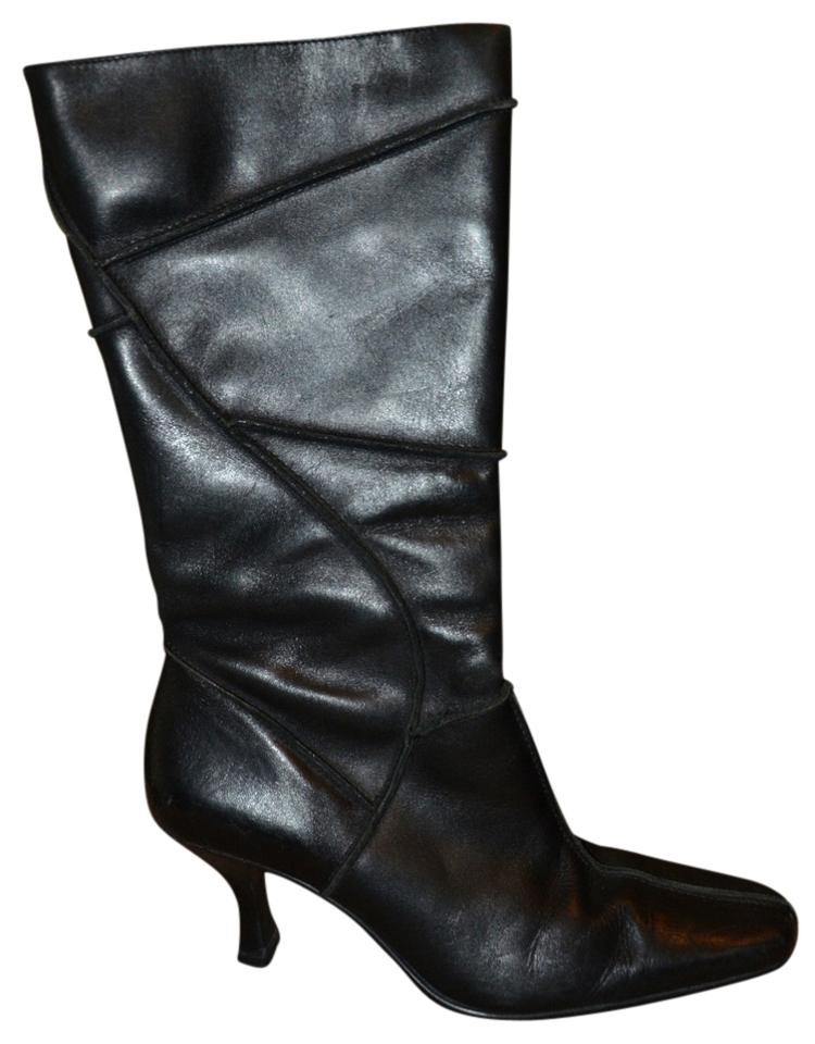 black true leather parade mid calf like new boots booties size us 6
