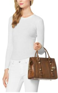 Michael Kors Embossed Leather Satchel in brown