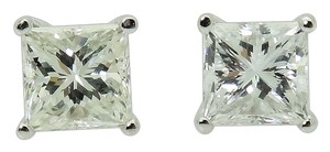 14k White Gold & 1.20 TCW Princess Cut Diamond Stud Earrings