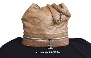 Chanel Quilted Leather Ligne Tote in Tan