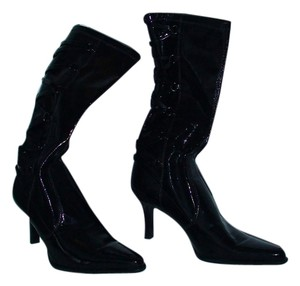 Franco Sarto Like New Glam Diva Rocker Mod Career Club Stage Band Black Patent, Point Toe Boots