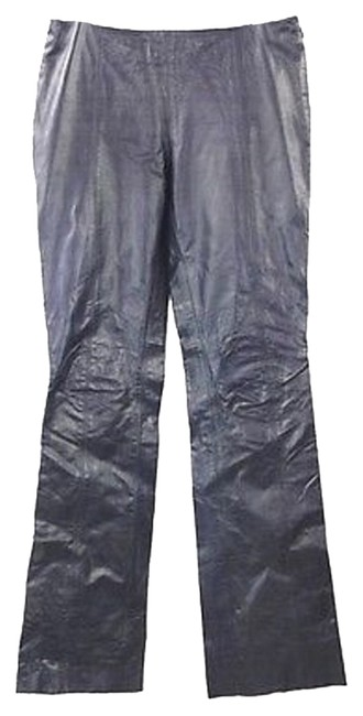 Theory Leather Patns Straight Pants PURPLE