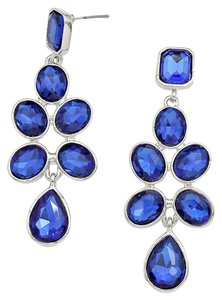 Beautiful New With Tags Blue Sapphire Swarovski Crystals & Silver Setting Chandelier Pierced Earrings