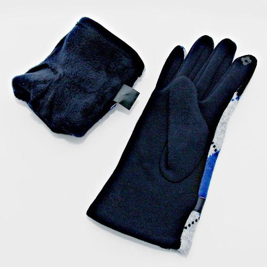 Other Blue Argyle Print Wool Lined Gloves