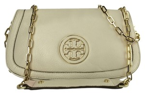 Tory Burch Amanda Logo Leather Vanilla White Clutch