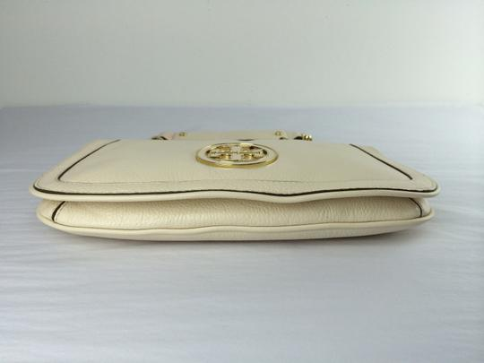 Tory Burch Amanda Logo Leather White Clutch