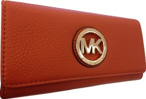 Michael Kors Michael Kors Fulton Flap Orange Leather Continental Wallet