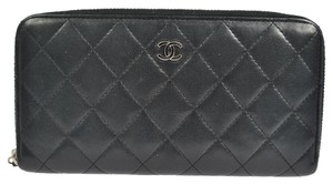 Chanel AUTHENTIC CHANEL QUILTED CC LOGOS BIFOLD LONG WALLET PURSE BLACK LEATHER