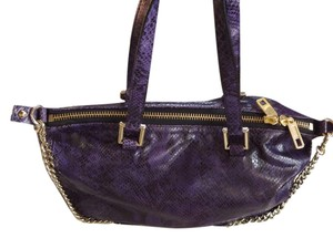 Juicy Couture Leather Gold Trim Snakeskin Satchel in Purple