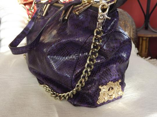 Juicy Couture Leather Gold Trim Snakeskin Sophisticated Satchel in Purple