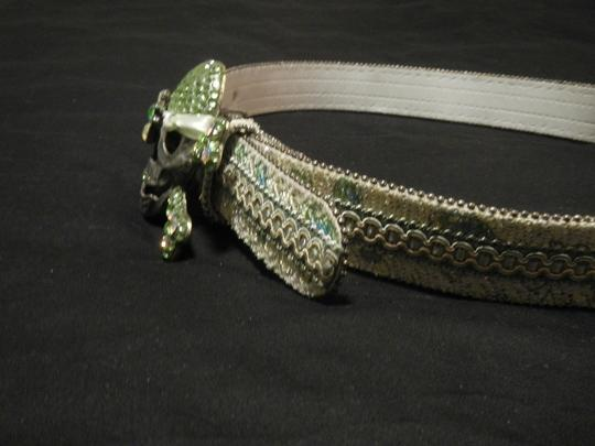 Other Multi-Hued Metallic Belt with Jolly Roger Buckle