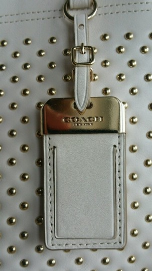 Coach Gramercy 35285 Cream Leather Gold Studded Crossbody Strap Adjustable Shoulder Satchel in Chalk