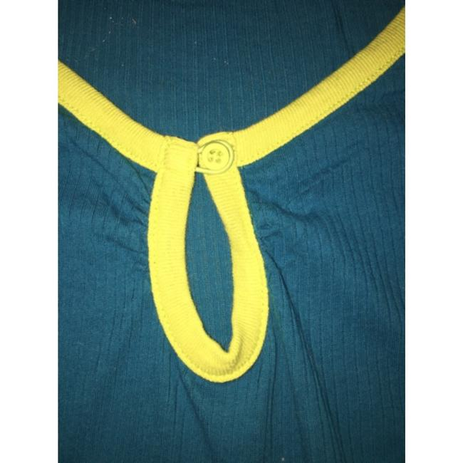Free People T Shirt Blue with green piping and stitching