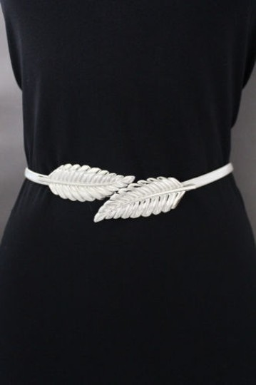Other Women Silver Fashion Belt Hip High Waist Elastic Metal Double Leaf Buckle