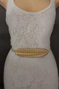 Women Gold Fashion Belt Hip High Waist Elastic Metal Long Leaf Buckle