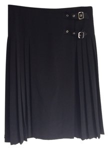 agns b. Leather Buckles Pleated Size 12 Skirt Black