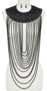 Beautiful Multilayer Strands of Black Pearl Beads Draped Necklace and Earring