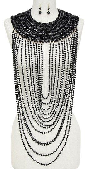 Other Beautiful Multilayer Strands of Black Pearl Beads Draped Necklace and Earring
