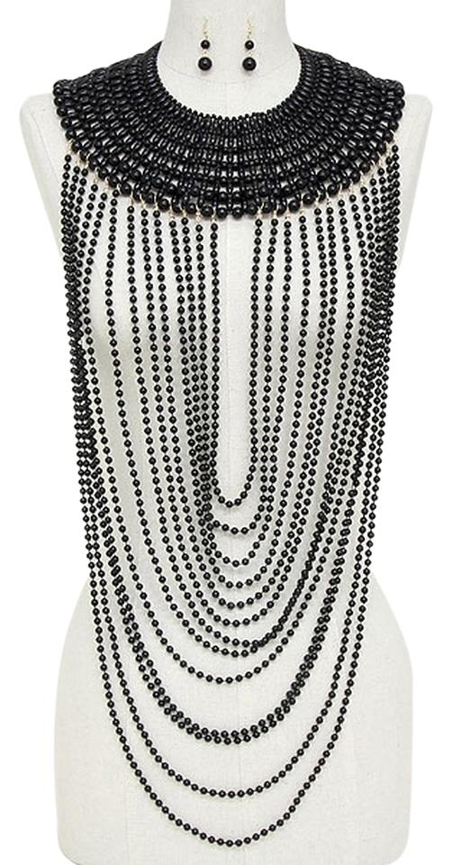 Black Gold Multilayer Strands Of Pearl Beads Draped and Earring ...