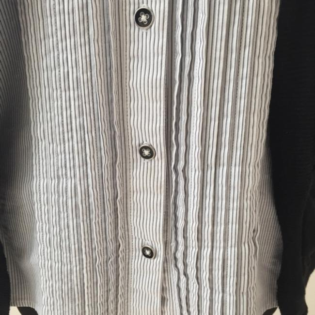New York & Company Button Down Shirt Black/striped/white
