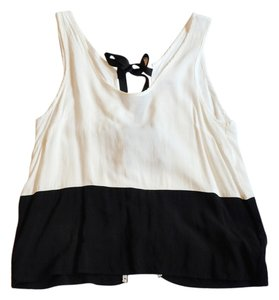 Cooperative Bow Open Back Top Black and White Colorblock