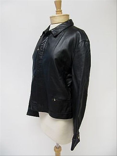 Versace Womens Jeans Couture Leather Black Jacket