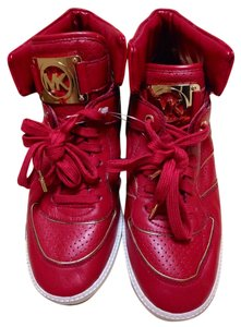 MICHAEL Michael Kors Leather Sneaker High Top Nikko Red Athletic
