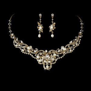 Mariell Vintage Gold Pearl And Crystal Wedding Necklace Set