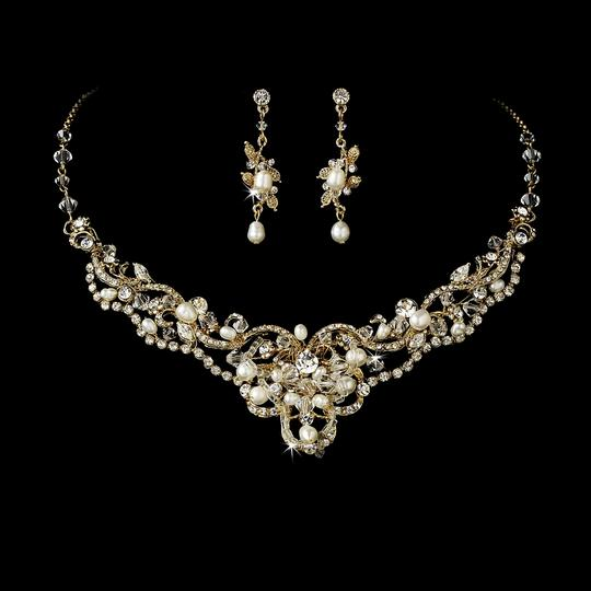 Mariell Gold/Ivory Vintage Pearl and Crystal Necklace Jewelry Set