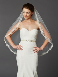 Mariell Sculpted Lace Edged Fingertip Length Mantilla Wedding Veil With Crystal Accents - Wholesale Price