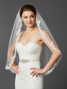 Mariell Ivory Medium Scalloped Lace Edge Fingertip Mantilla with Crystal & Beads Bridal Veil