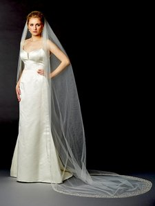 Mariell Breathtaking 1 Layer Cathedral Wedding Veil With Dramatic Crystal Pearl And Beaded Edging