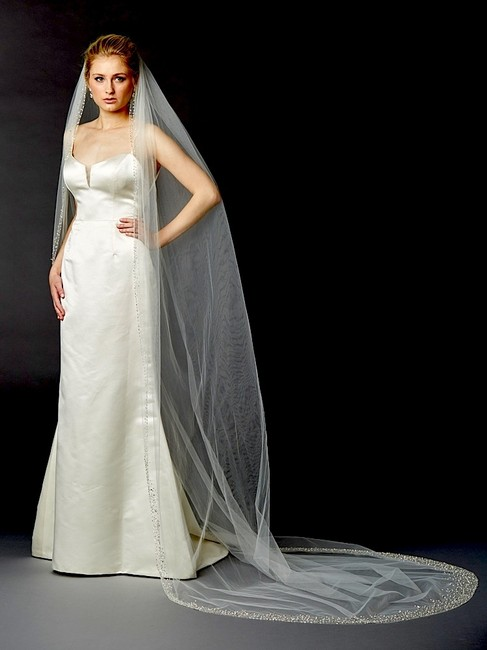 Item - Ivory Long Breathtaking 1 Layer Cathedral with Dramatic Crystal Pearl and Beaded Edging Bridal Veil