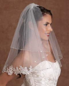 Edward Berger Crystal Lace Edge Wedding Veil - Sale