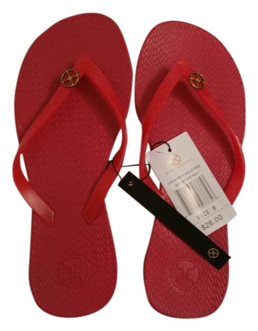 Item - Red Solid Sandals Size US 6 Regular (M, B)