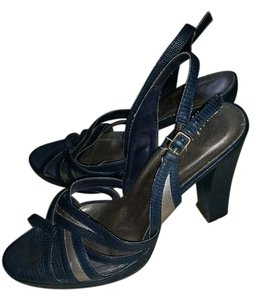 She Who Dies with the Most Shoes Wins Sandal Blue Grey Platforms