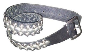 Black Leather Retro Chrome Studded Belt