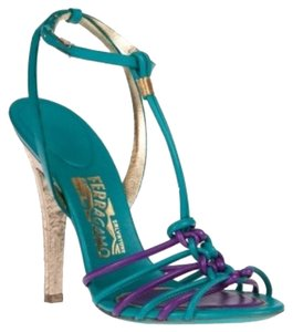 Salvatore Ferragamo Made In Italy Golden Heel Calfskin T-strap Teal and Purple Sandals