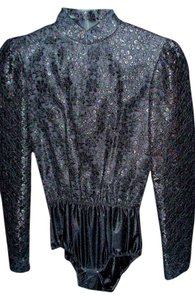 Other Victorian Vintage Antique Historical Steam Punk Steampunk Bodysuit Shirt Top Black French Lace mint condition