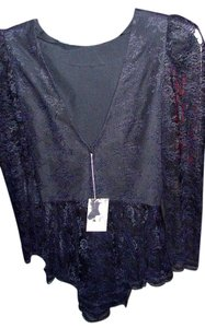 Vintage Victorian Steam Punk Top Black French Lace Vintage, mint cond