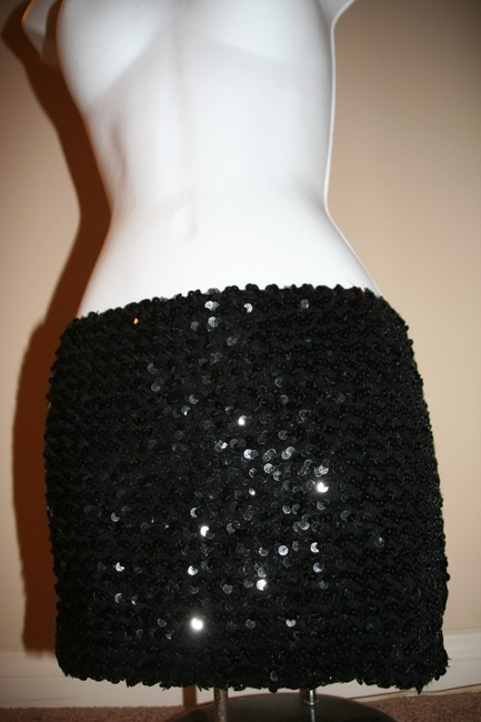 Other Vintage Glam Diva Bando Top Wrap Victorian Punk Rocker Stage Theater Dance Club Night Out Dress Mini Skirt Black VTG Sequin