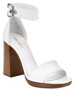 Prada Leather Ankle Strap Buckles Blockedheels White Sandals